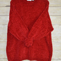 Size XL Womens Plush Red Sweater Soft Acrylic Nuggets