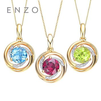 ENZO Gemstone Jewelry Genuine 18K Yellow Gold 0.82 Ct Natural  Blue Topaz Pendant Garnet And Peridot Available Gift For Women