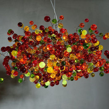 Hanging chandeliers.warm color bubbles