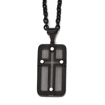 Stainless Steel Polished Black Ip-plated W/ Wire Inlay Cross Necklace
