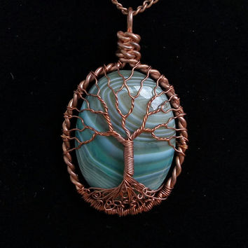 TREE OF Life Green Agate Gemstone Wire Wrapped Pendant Lunar Jewelry Cooper Patina Wire Jewelry Wrapped GreenAgate Necklace