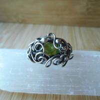 Sterling Silver Green Peridot Ring Wire Wrapped Oxidized Size 7