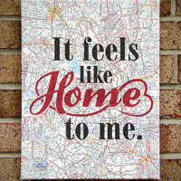 Feels Like Home - Canvas Art on Sheet Music OR Vintage Map - Chantal Kreviazuk - Lyrics Art