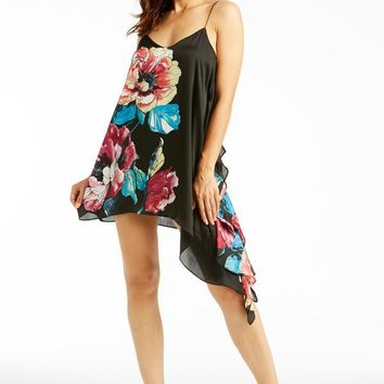 Eternal Love Floral Satin Tunic Dress