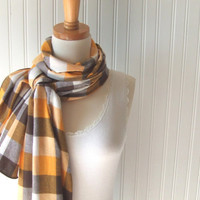 Plaid Flannel Scarf in Mustard and Clove - Extra Long - Back To School Fall Fashion