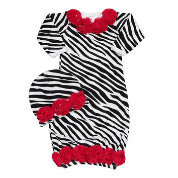 Baby Clothes,Newborn Baby Take Home Outfit- Newborn Baby Clothes- Trendy Baby Clothes- Baby Layett -Wild Child Hot Pink Zebra Rose Gown