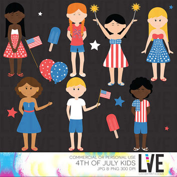 The 4th of July Kids Clipart Images, Summer Kids, Popsicle Images, Digital Flag, Star Clip art Commercial or Personal Use - Instant Download