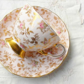 Vintage Tuscan DuBarry Rose Footed Tea Cup and Saucer Set, Pink Chintz, English Bone China, Tea Party, Ca. 1960's