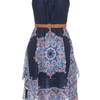 Lace Top Layered Skirt Dress - Blue Jasmine Combo