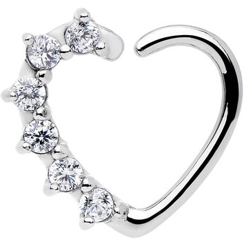 16 Gauge Clear CZ  Heart Right Closure Daith Cartilage Tragus Earring