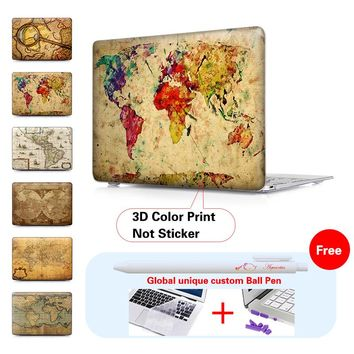 Colorful World Map Laptop Protective Hard Cases Cover For Macbook Air Pro 13 Case Pro 13 15 Retina Laptop Skin Protector Shell