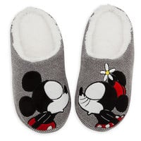 Mickey and Minnie Mouse Plush Slippers for Adults | Disney Store