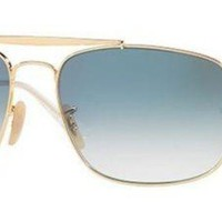 Kalete RAY BAN 3560 61 001/3F THE COLONEL GOLD SUNGLASSES ORO SOLE BLUE GRADIENT