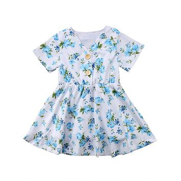 Children Dress Summer Kid Girl Flower Princess Dress Child Short Sleeve Dresses Party Fancy Dresses