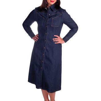 Vintage Denim Coat Dress LandLubbers Dark Wash Cool Pockets 1970s 36-32-44