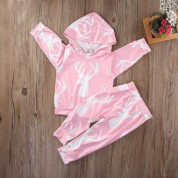 2pcs suit !!! Baby Girls Kids Sweatshirt Tops+Long Pants Outfits  Hooded Pink  Clothes Set
