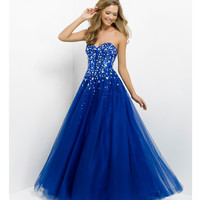 Pink by Blush 2014 Prom Dresses - Indigo Strapless Beaded Long Prom Gown