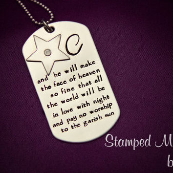Cut him out into little stars - Hand Stamped Shakespeare Stainless Steel Necklace - Customize w/ Initial - Riveted Star - Romeo and Juliet