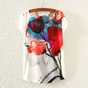 White Short Sleeve Girl Profile Print T-Shirt