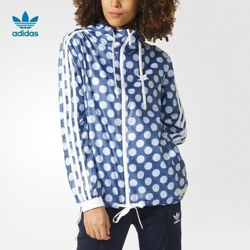 Women¡¯s Adidas Polka Dots Sport Running Long Sleeve Cardigan Jacket Coat Windbreaker