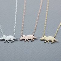 Dino Dinosaur, Triceratops necklace pendant necklace in 3 colors, N0834K