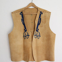 Vintage 70s Men's Tan Leather Native American Vest // Indian Suede Shirt
