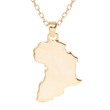 Africa 18K Gold Plated Pendant Necklace