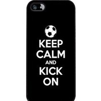 Keep Calm and Kick On - Soccer - iPhone 5 or 5s Cover, Cell Phone Case - Black
