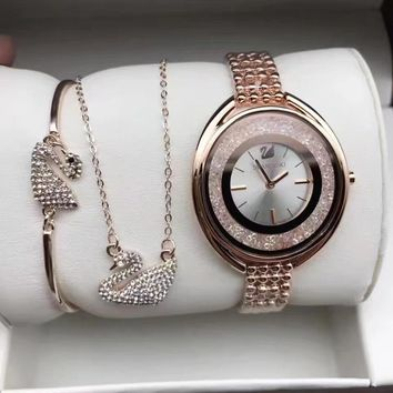 Swarovski Women Fashion Diamonds Delicate Wristwatch Watch Necklace Bracelet  Three Piece Suit dcba5ef3ec