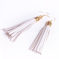 White Leather Tassel Earrings by fashionmeme on Etsy