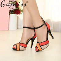 Gamiss Women High Heels Sandals Peep Toe Sexy Thin Heel Pumps Mulheres Sandalias Open Toe Women Patchwork Party Wedding Shoes