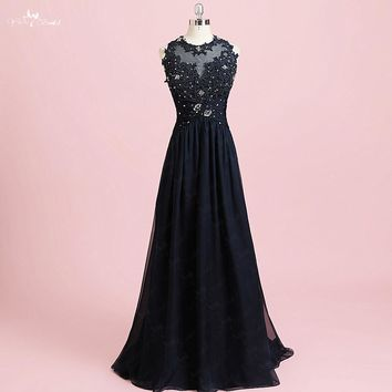 RSE805 Real Pictures Yiaibridal Women Lace Dress And Chiffon Keyhole Back Navy Blue Prom Dresses