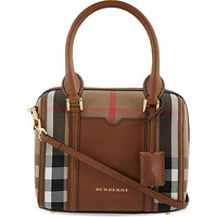 BURBERRY - Checked cotton-canvas bowling bag | Selfridges.com