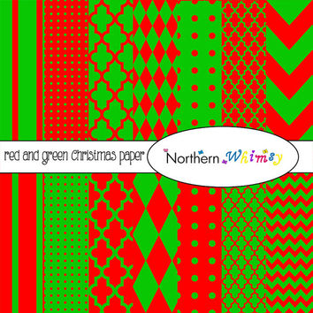 Red and Green Digital Paper Pack – Christmas digital backgrounds for scrapbooking, invitations, logos, web design – instant download – CU OK