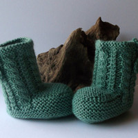 Hand knitted  unisex baby booties. 6 - 12 months. Sage cable boots. Anti tickle wool