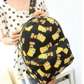 Simpson Cartoon Cute Schoolbags For Teenage Girls Bookbags College Middle School Bagpack For Women Printing Canvas Backpacks