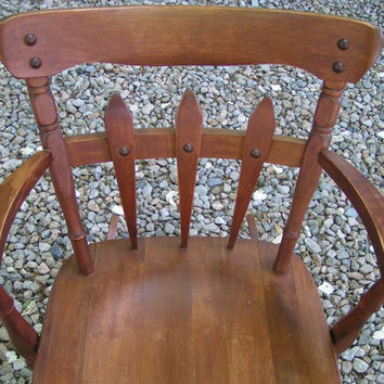 Vintage Hardwood Rocking Chair with Picket-Fence Style Decoration - Super Cute Country, Farmhouse, Shabby Chic Piece