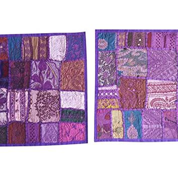"""Home Decorative Indian Throw Pillow Cases Purple Embroidered Patchwork Cushion Cover 16 """""""