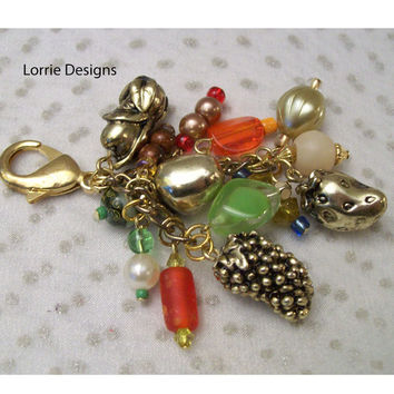 Beaded Fruit Zipper Pull, Purse Charm in Silver Mixed Colors, Handmade Pull or Key Chain