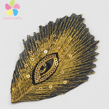 6pcs 2pcs 10*7cm Sequined Peacock Tail Patch Iron-on or Sew-on Clothing Applique 20010014