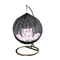 Pre-owned Hanging Black Rattan Chair Floral Cushions