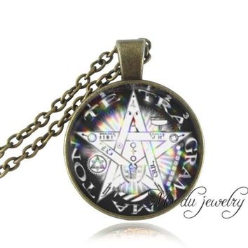 Pentacle wicca pendant necklace Wiccan jewelry Occult neckless Pentagram pendant glass dome bronze chain statement necklace gift
