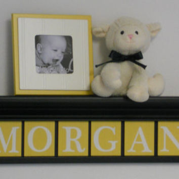 "Black and Yellow Baby Girl Wooden Name Signs Nursery Decor 30"" Shelf with 8 Wooden Wall Letters in Yellow - MORGAN with Hearts"