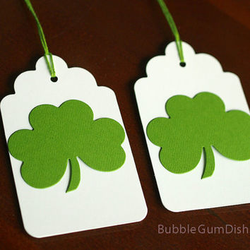Paper Irish Shamrocks Gift Tags Set of 6 St Patricks Day 3x5 Large Hang Tag
