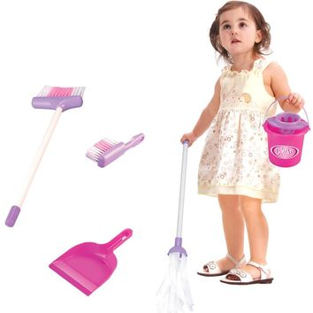 5PCS Kids  Assemblage Plastic Housekeeping Cleaning Play Toy Set Broom/Mop/Bucket/Dustpan Cleaning Brush Sweep Role Play Toy