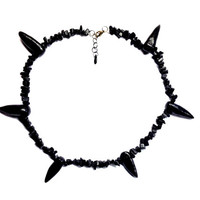 Naruto: Pain/Pein Tendou (Yahiko) REAL Gemstone Chipping Apatite Black Stone And Clay Necklace 100% HANDMADE High Quality Cosplay