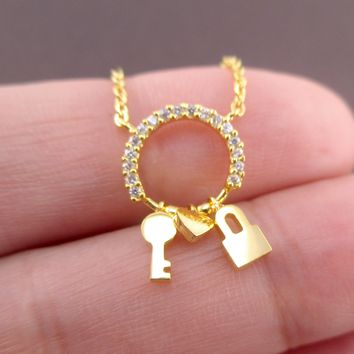 Key To My Heart Lock and Key Charms on Round Pendant Necklace in Gold
