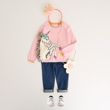 Girls Tassel Sweaters Autumn Clothing Winter Pullover Horse Sweater Cartoon Unicorn Long Sleeve Outerwear O-neck Kids Knitwear