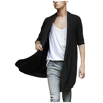 SYB 2016 NEW Men Shawl Collar High-Low Hem Long Cardigan Black