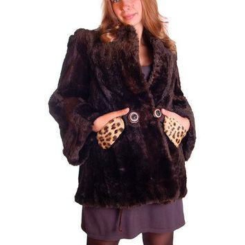 Vintage Brown Sheared Hudson Seal Swing Jacket Fur Trim 1940s